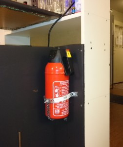 Powder extinguisher in the kitchen